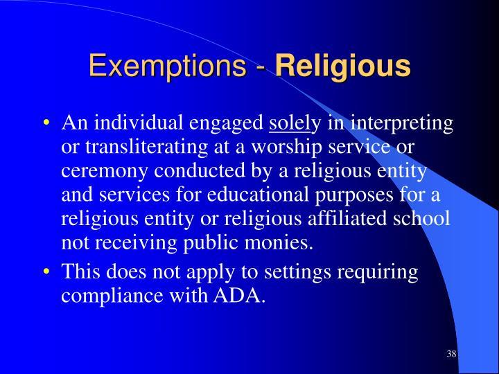 Exemptions -