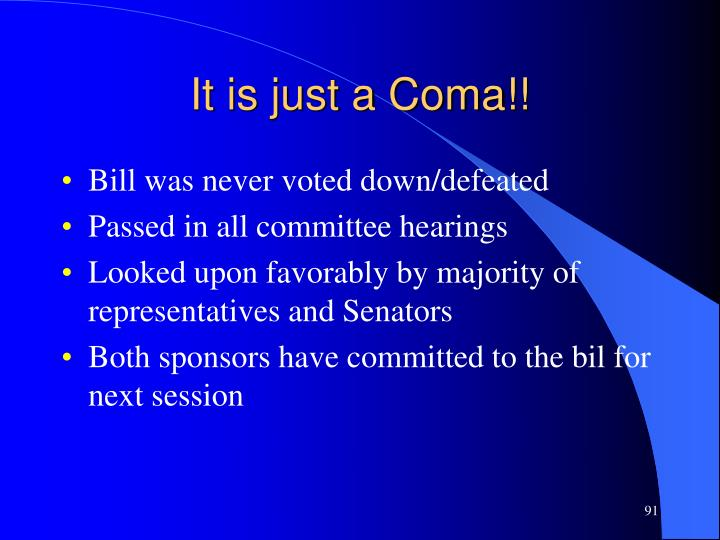 It is just a Coma!!