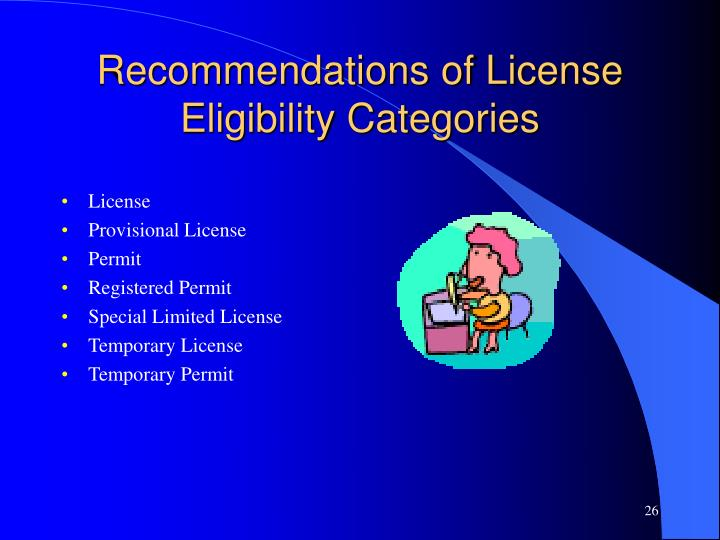 Recommendations of License Eligibility Categories