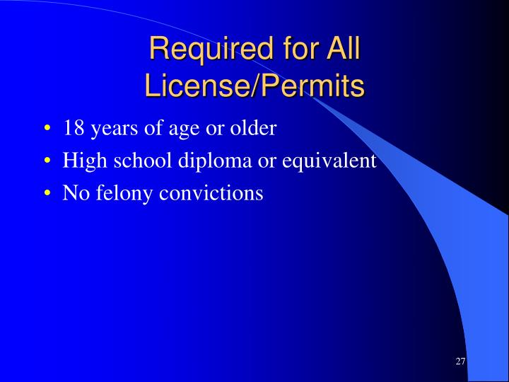 Required for All License/Permits