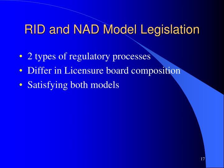 RID and NAD Model Legislation