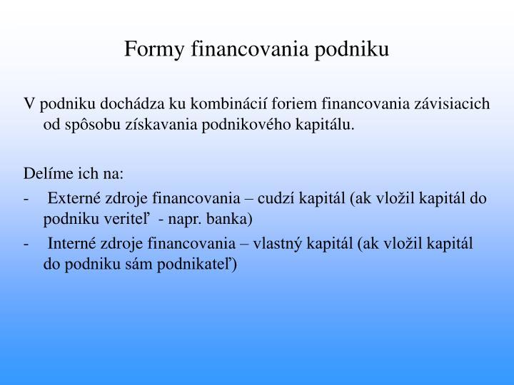 Formy financovania podniku
