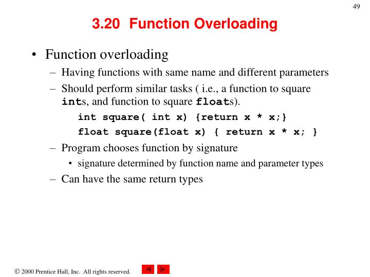 3.20	Function Overloading