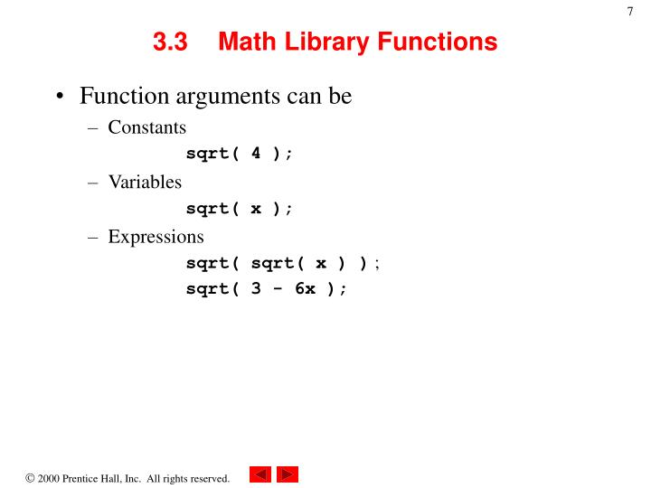 3.3	Math Library Functions