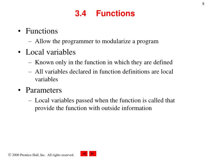 3.4	Functions