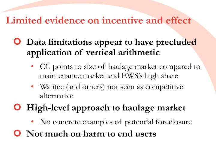 Limited evidence on incentive and effect