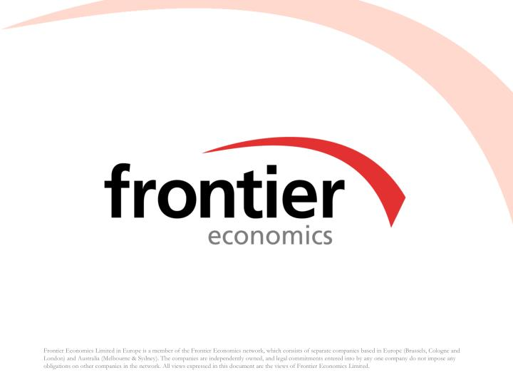 Frontier Economics Limited in Europe is a member of the Frontier Economics network, which consists of separate companies based in Europe (Brussels, Cologne and London) and Australia (Melbourne & Sydney). The companies are independently owned, and legal commitments entered into by any one company do not impose any obligations on other companies in the network. All views expressed in this document are the views of Frontier Economics Limited.