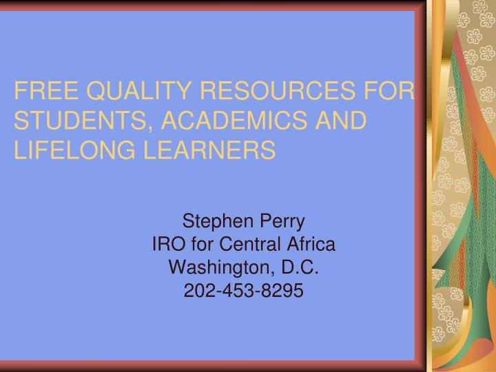 free quality resources for students academics and lifelong learners n.