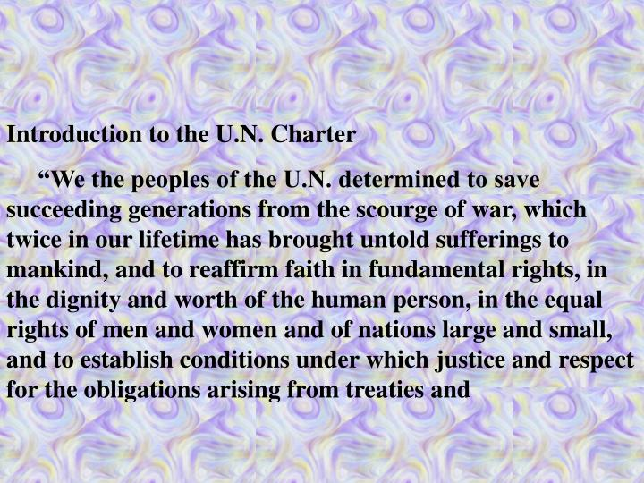 Introduction to the U.N. Charter