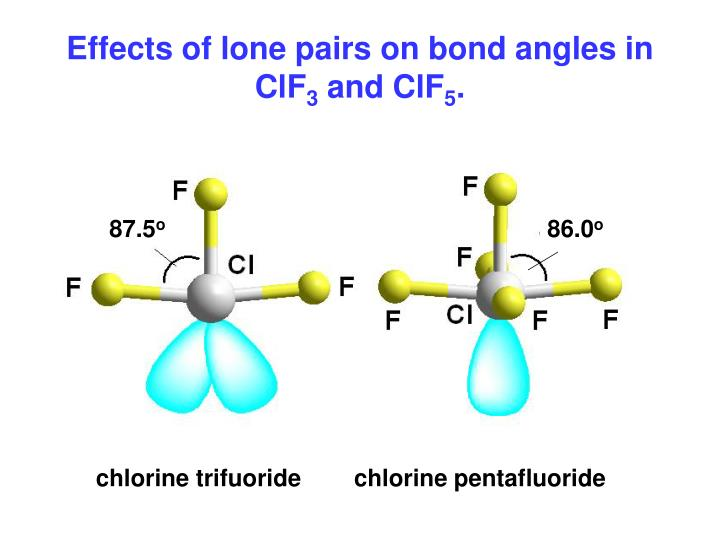 Effects of lone pairs on bond angles in ClF