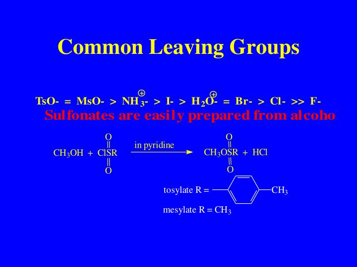 Common Leaving Groups