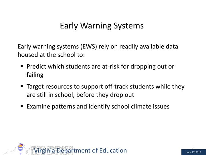 Early warning systems