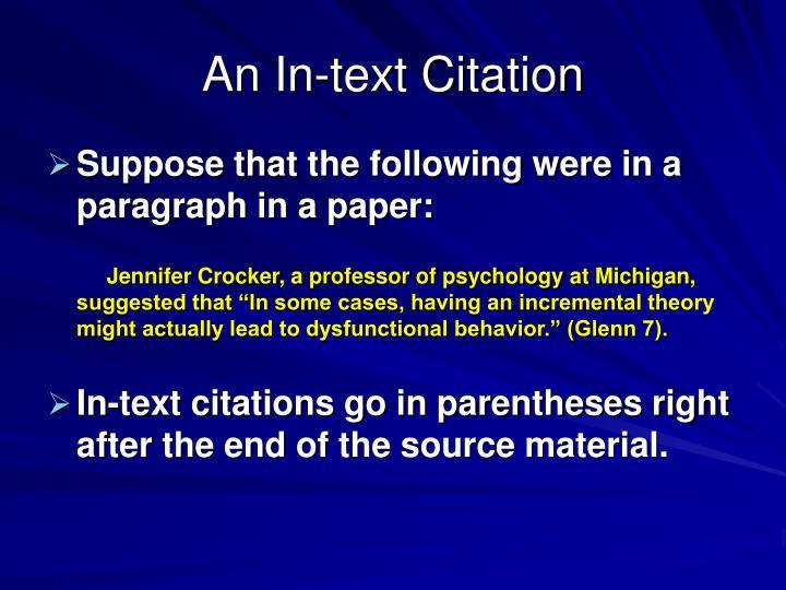 An In-text Citation