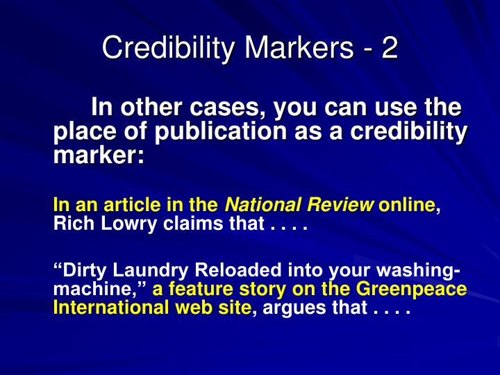 Credibility Markers - 2