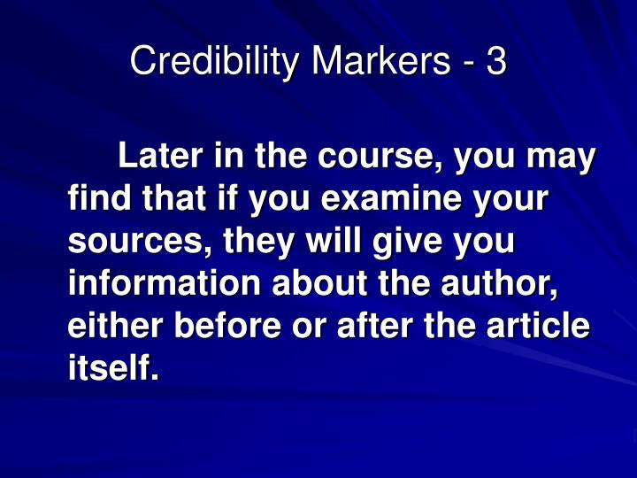 Credibility Markers - 3