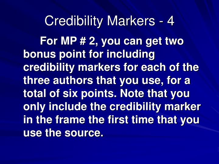 Credibility Markers - 4