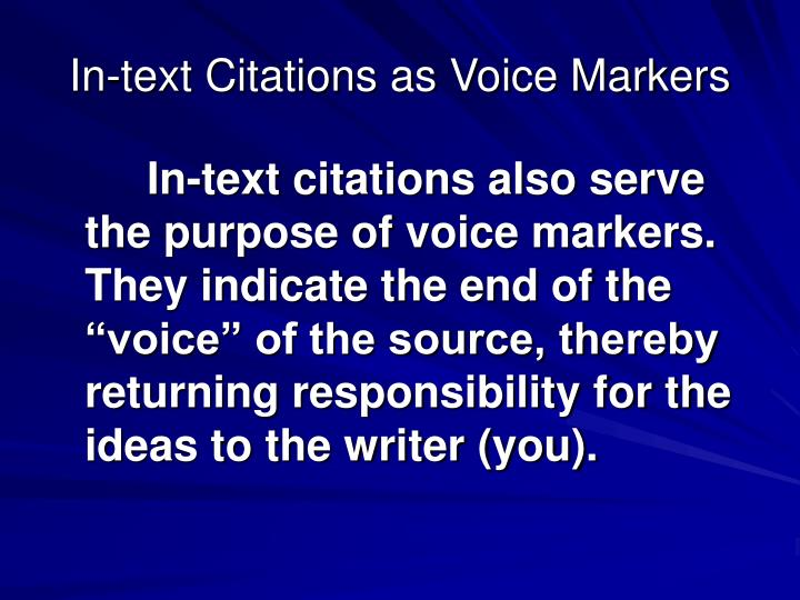 In-text Citations as Voice Markers