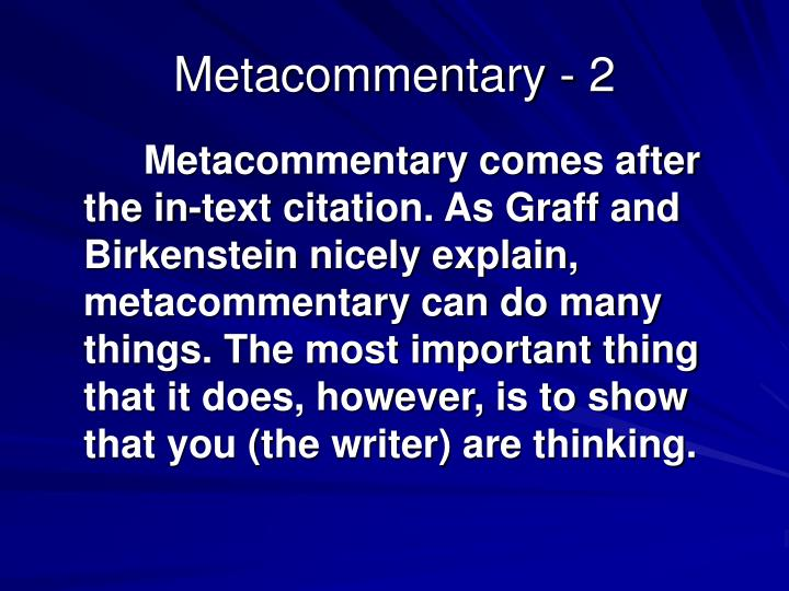 Metacommentary - 2