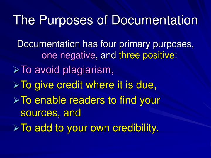 The Purposes of Documentation