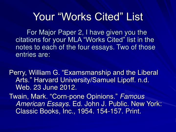 """Your """"Works Cited"""" List"""