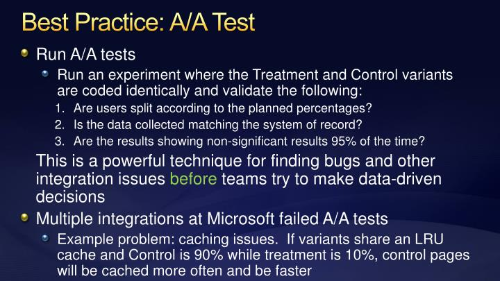 Best Practice: A/A Test