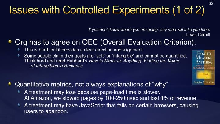Issues with Controlled Experiments (1 of 2)