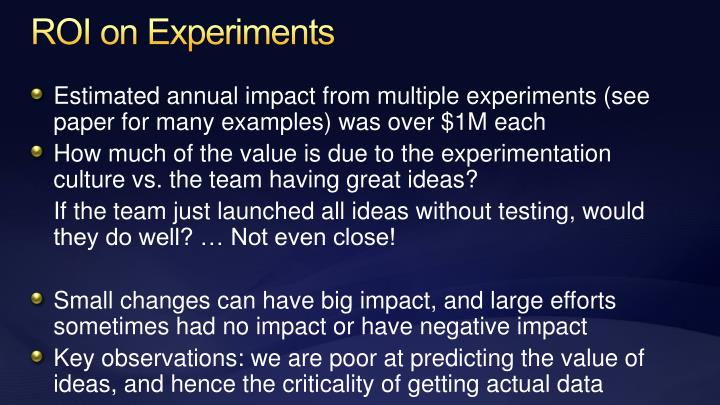 ROI on Experiments