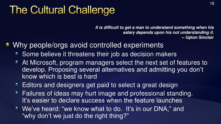 The Cultural Challenge