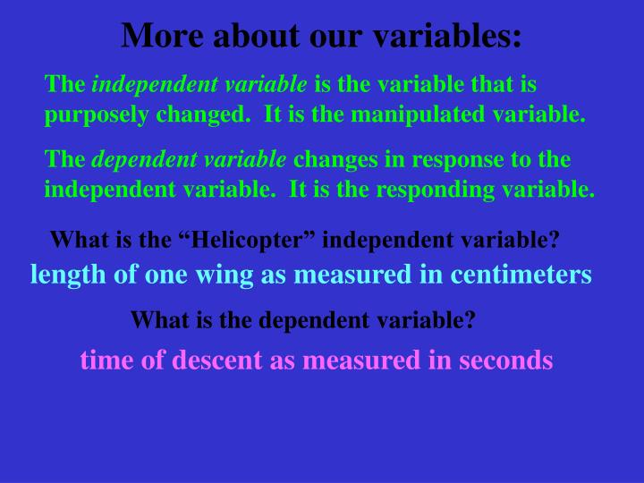 More about our variables: