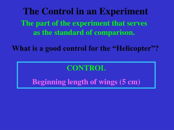 The Control in an Experiment