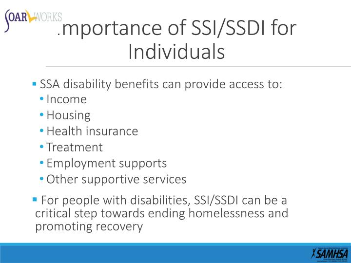 Importance of SSI/SSDI for Individuals