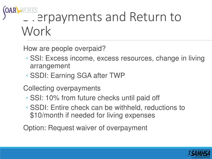 Overpayments and Return to Work