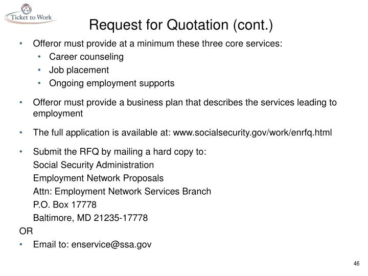 Request for Quotation (cont.)