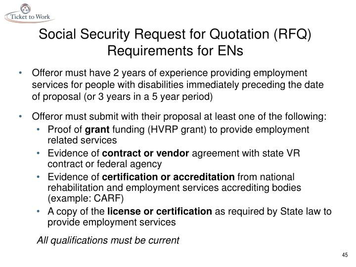 Social Security Request for Quotation (RFQ) Requirements for ENs