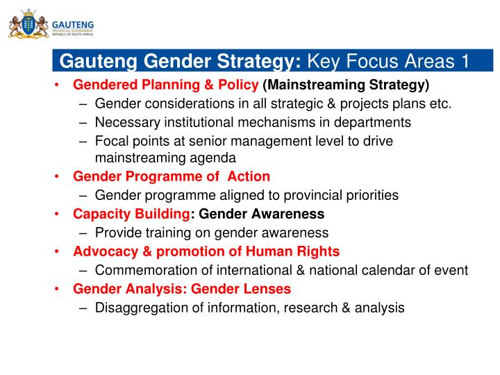 Gauteng Gender Strategy: