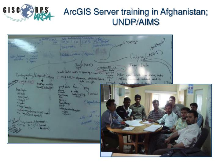ArcGIS Server training in Afghanistan; UNDP/AIMS