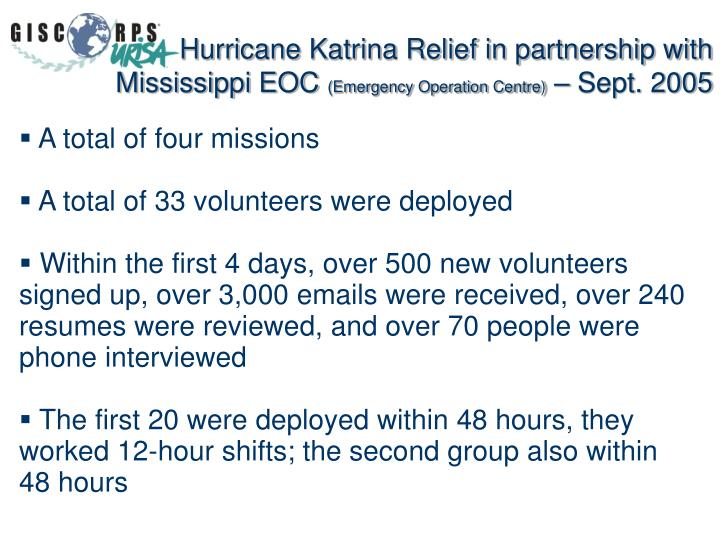 Hurricane Katrina Relief in partnership with Mississippi EOC
