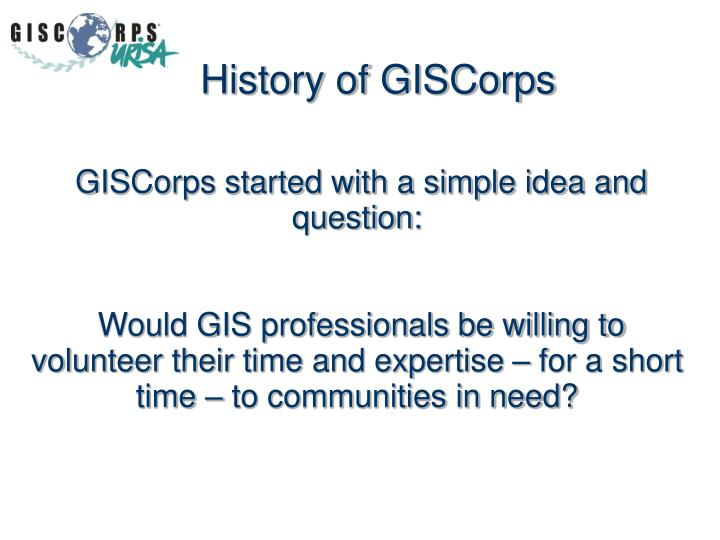 History of GISCorps