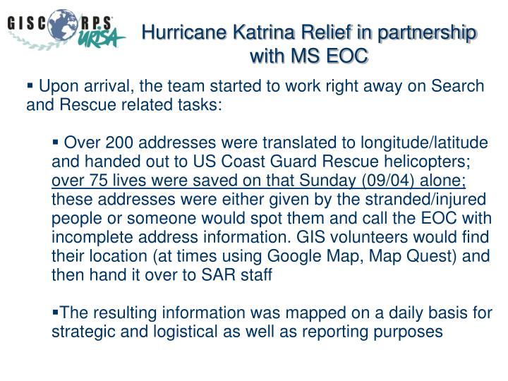 Hurricane Katrina Relief in partnership