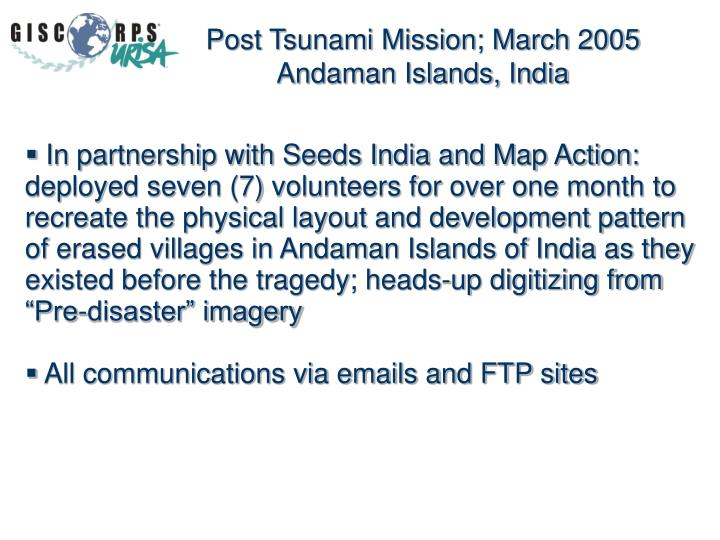 Post Tsunami Mission; March 2005