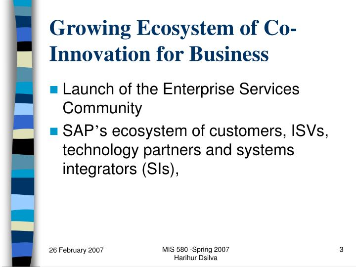Growing ecosystem of co innovation for business