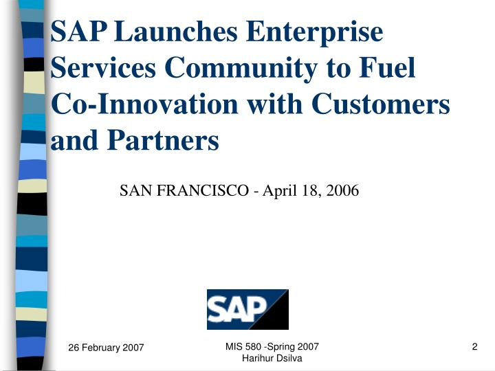 Sap launches enterprise services community to fuel co innovation with customers and partners