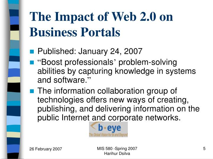 The Impact of Web 2.0 on Business Portals