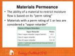 materials permeance