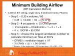 minimum building airflow bpi calculation method