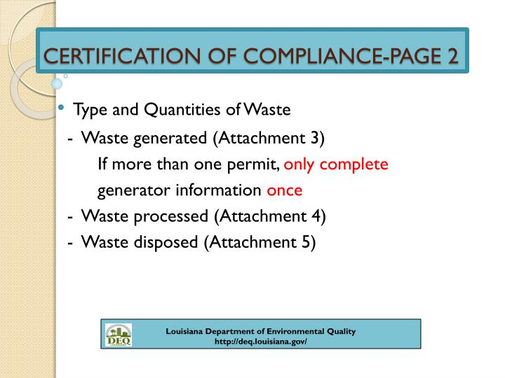 CERTIFICATION OF COMPLIANCE-PAGE 2