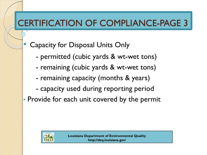 CERTIFICATION OF COMPLIANCE-PAGE 3