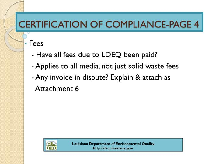 CERTIFICATION OF COMPLIANCE-PAGE 4