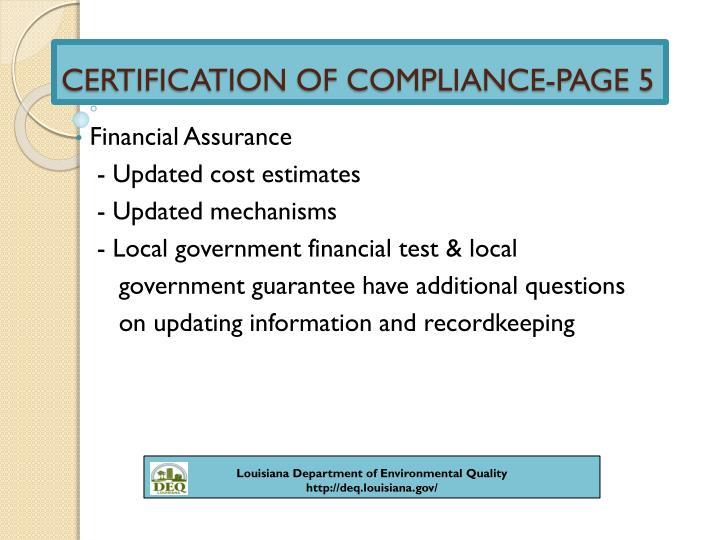 CERTIFICATION OF COMPLIANCE-PAGE 5