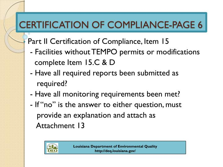 CERTIFICATION OF COMPLIANCE-PAGE 6